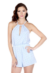 Naughty Grl Halter Top Studded Romper - Powder Blue - NaughtyGrl