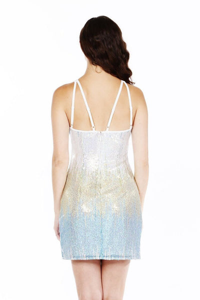 Naughty Grl Fun Sequin Shift Dress - Ice Silver