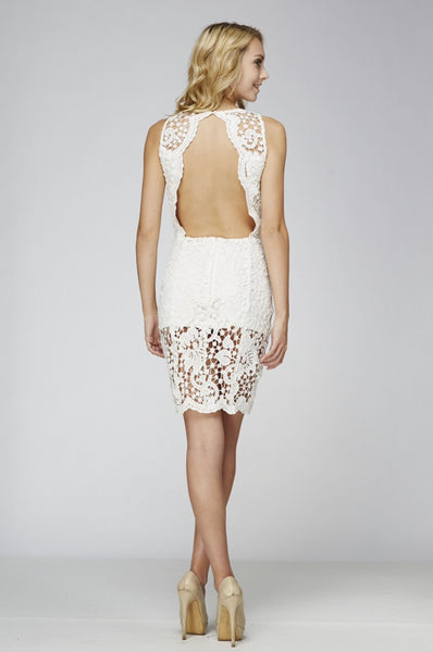 Naughty Grl Delicate Lace Dress - White