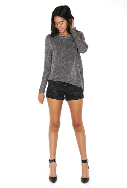 Naughty Grl Sparkly Evening Shorts - Black - NaughtyGrl