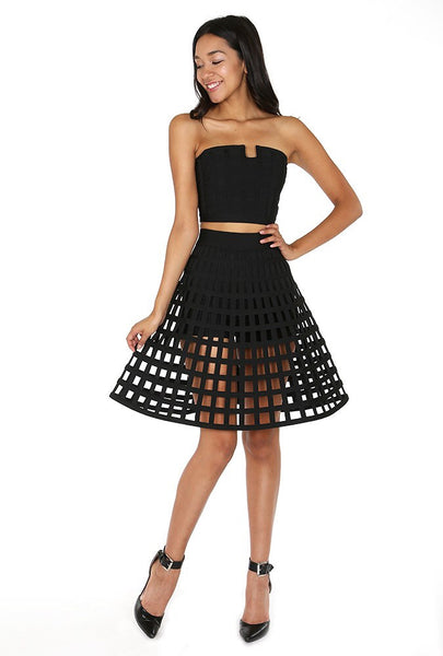 Naughty Grl Caged Skirt With Flare - Black - NaughtyGrl