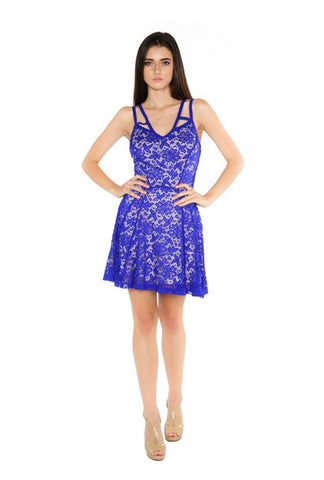 Designer inexpensive online boutique for women - Naughty Grl Cute Lacey Cocktail Dress - Royal Blue