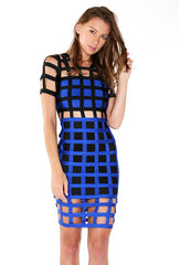 Naughty Grl Trendy Square Bandage Dress - Blue & Black