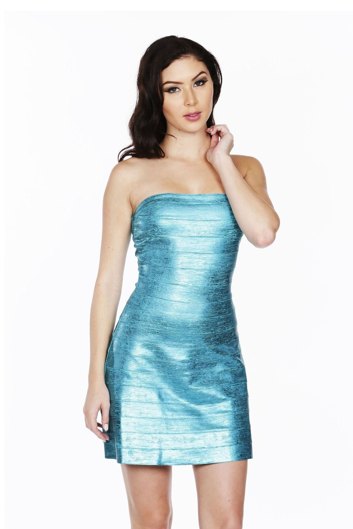 Naughty Grl Strapless Fit & Flare Bandage Dress - Teal - NaughtyGrl