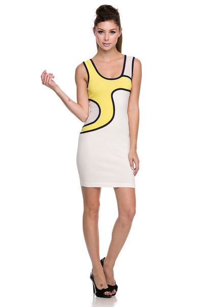 Naughty Grl Sporty Swirl Bandage Bodycon Dress - Yellow & White - NaughtyGrl