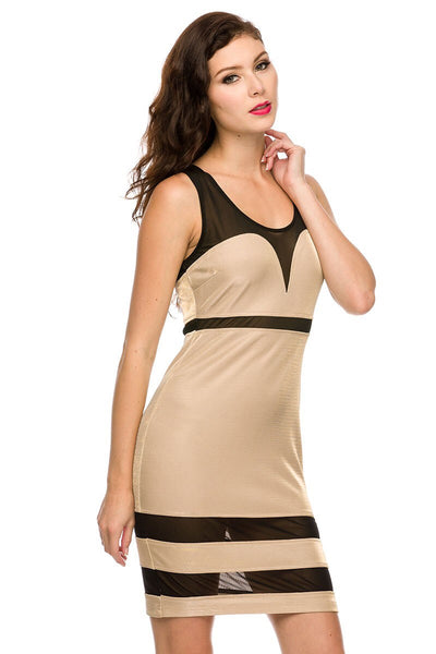 Naughty Grl Evening Mesh Bodycon Dress - Gold - NaughtyGrl