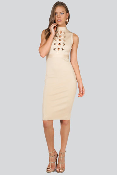 Naughty Grl Elegant Lace Up Bandage Dress - Sand & Light Gold