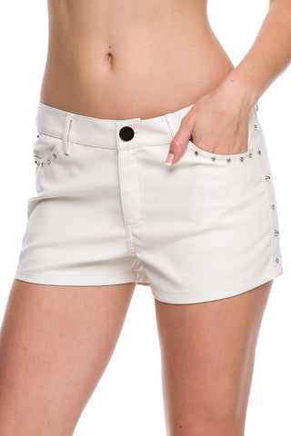 Designer inexpensive online boutique for women - Chic Studded Pleather Short