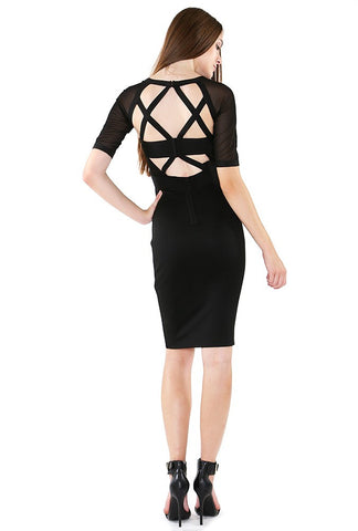Designer inexpensive online boutique for women - NaughtyGrl Bodycon Dress With Sleeves - Black