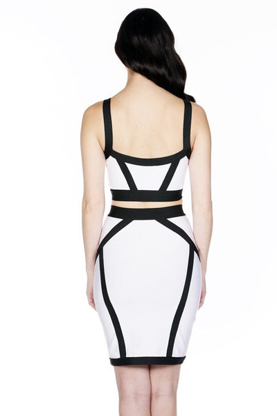 Naughty Grl Two Piece Bandage Dress With Zipper - Black & White - NaughtyGrl