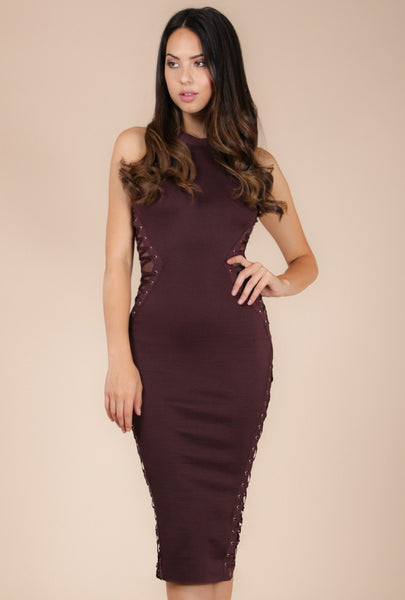 Naughty Grl Illusion Style Dress - Dark Oak - NaughtyGrl