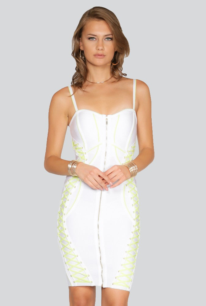 Naughty Grl Classic Bodycon Lace Up Dress - White & Lime - NaughtyGrl