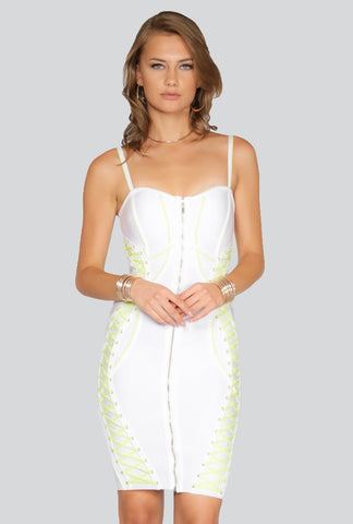 Designer inexpensive online boutique for women - Naughty Grl Classic Bodycon Lace Up Dress - White & Lime - NaughtyGrl