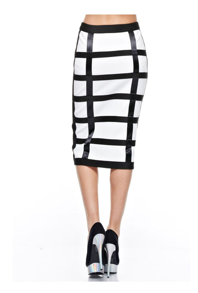 Pretty In Style Satin Strips Pencil Skirt