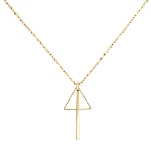 Designer inexpensive online boutique for women - Triangle And Bar Combo Necklace