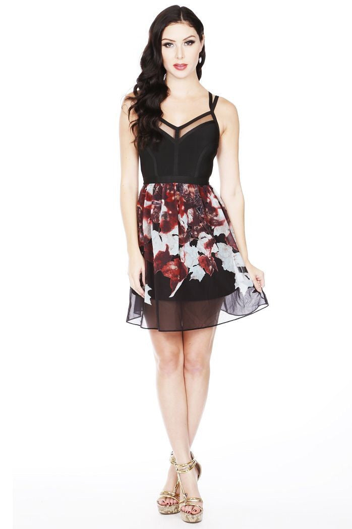 Naughty Grl Chiffon Fit & Flare Dress - Black - NaughtyGrl