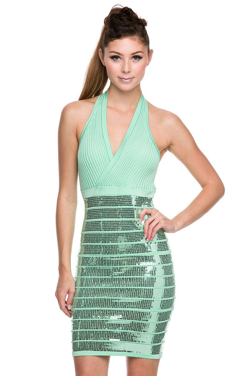 Naughty Grl Sexy Sequin Bandage Dress - Mint - NaughtyGrl