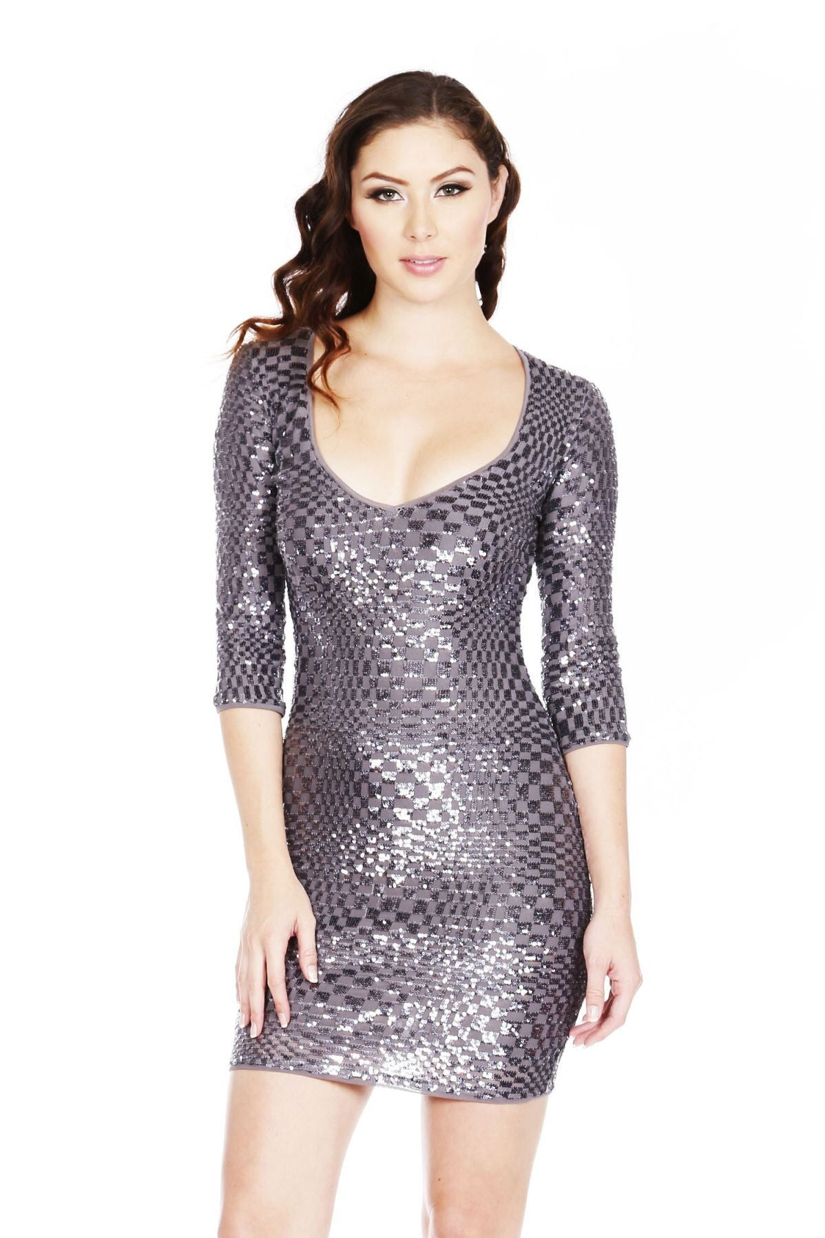 Naughty Grl Sequin Bodycon Dress With Zipper - Charcole Grey - NaughtyGrl