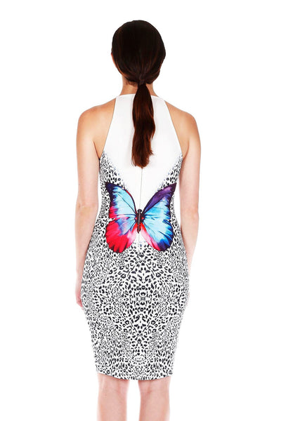 Naughty Grl Butterfly Crew Neck Bodycon Dress - White - NaughtyGrl