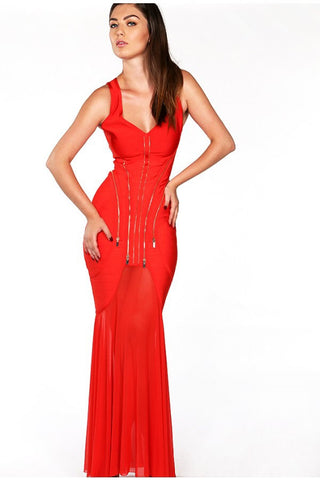 Inexpensive maxi dresses for any occasions - Naughty Grl Elegant Bodycon Dress With Zipper - Red