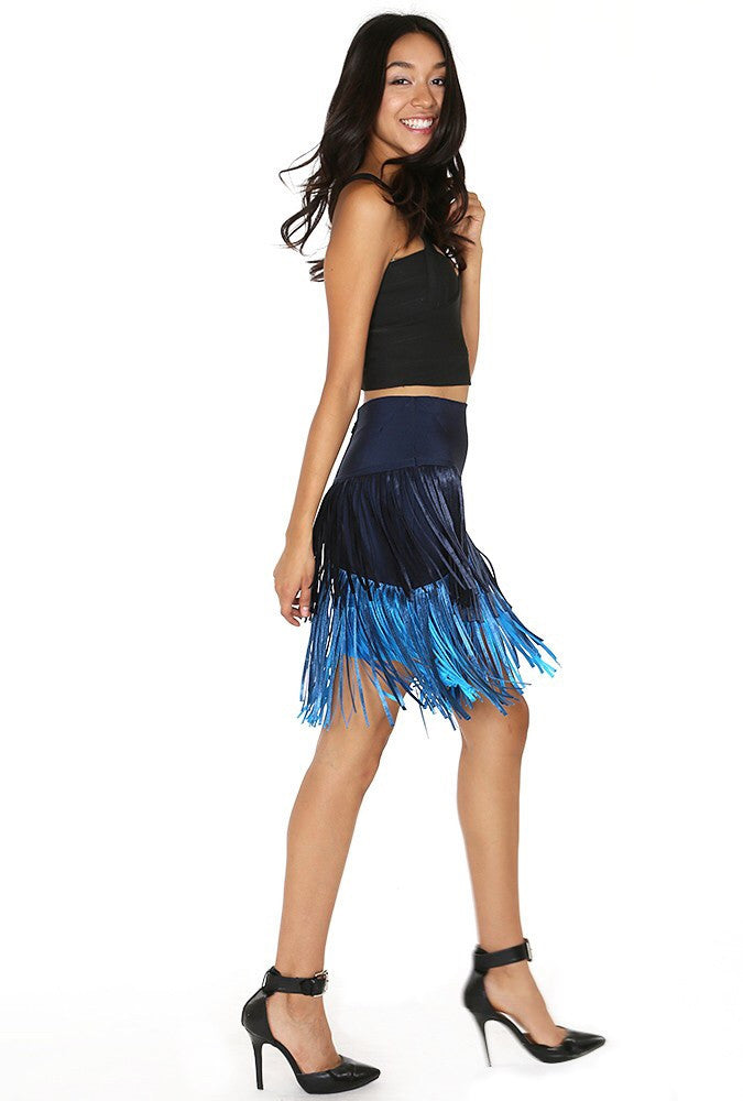 Naughty Grl High Waisted Fringed Skirt - Blue - NaughtyGrl