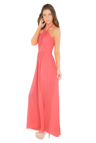 Naughty Grl Casual Long Halter Dress - Coral - NaughtyGrl