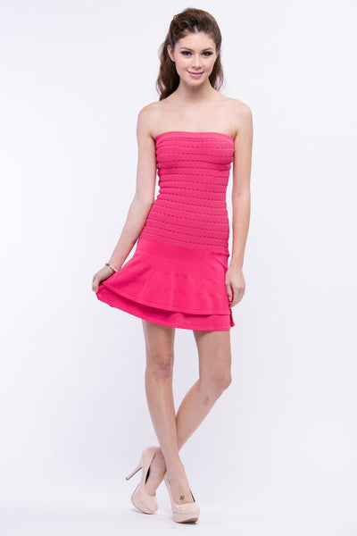 Naughty Grl Flirty Tube Bandage Dress - Pink - NaughtyGrl
