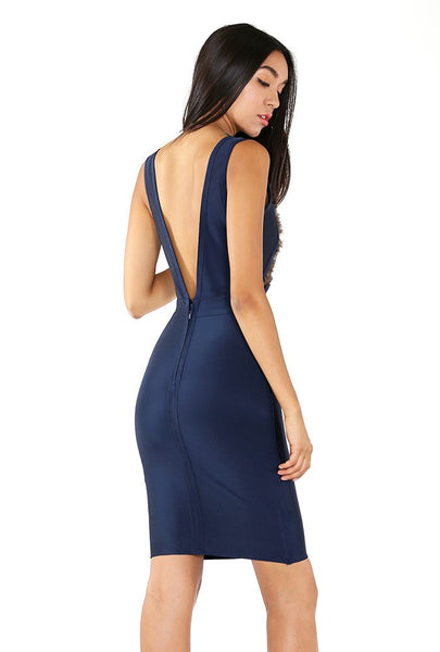 Naughty Grl Elegant Peacock Bandage Dress - Dark Navy - NaughtyGrl