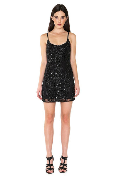 Naughty Grl Elegant Beaded Camisole Cocktail Dress - Taupe - NaughtyGrl