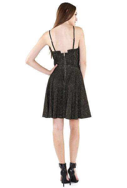 Naughty Grl Fit & Flare Cocktail Dress - Black & Gold - NaughtyGrl