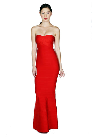 Designer inexpensive online boutique for women - Naughty Grl Elegant Mermaid Tube Bandage Maxi Dress - Red