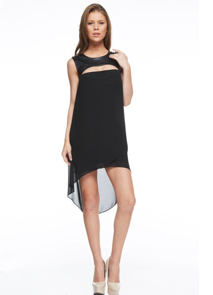 Naughty Grl Sexy Front Cutout Dress - Black - NaughtyGrl