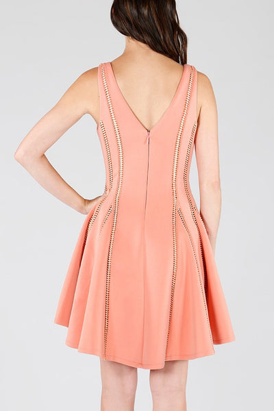 Naughty Grl Fit & Flare Party Dress - Peach - NaughtyGrl