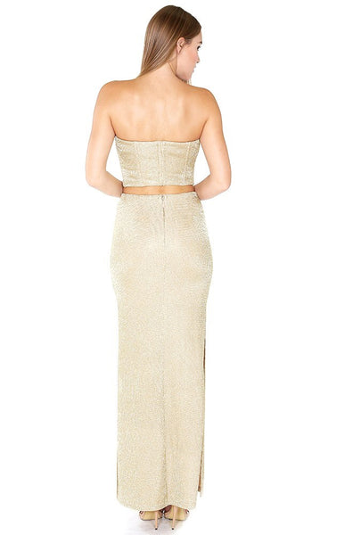 Naughty Grl Charming Two Piece Maxi Set - Gold - NaughtyGrl