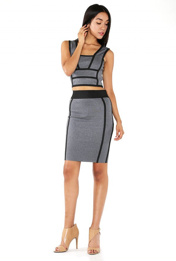 Naughty Grl Stylish Two Piece Bandage Dress - Black Marble/ Blue Marble