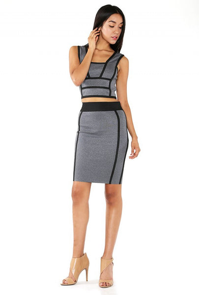Naughty Grl Stylish Two Piece Bandage Dress - Black Marble/ Blue Marble - NaughtyGrl
