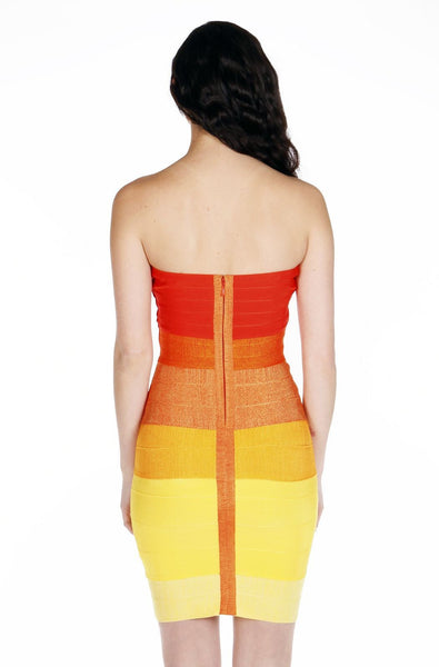 Naughty Grl Ambre Bodycon Bandage Dress - Orange Multi - NaughtyGrl