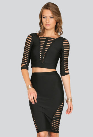 Shop the latest matched set outfits for a style statement - Naughty Grl Elegant Two Piece Top & Skirt - Black