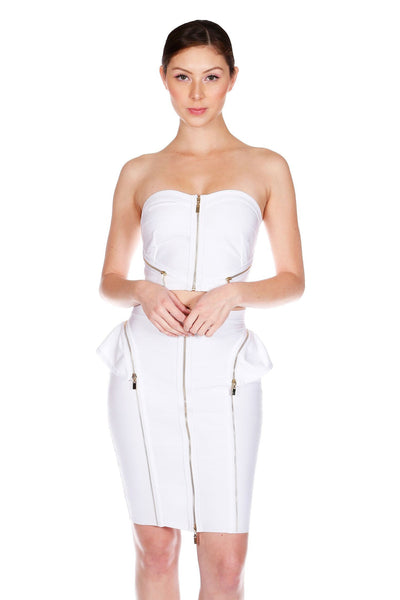 Naughty Grl Stylish Two Piece Bandage Dress - White - NaughtyGrl