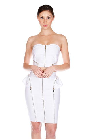 Naughty Grl Stylish Two Piece Bandage Dress - White