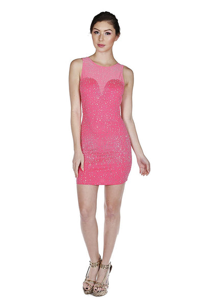 Naughty Grl Round Neck Bodycon Dress With Rhinestones - Neon Fuchsia - NaughtyGrl