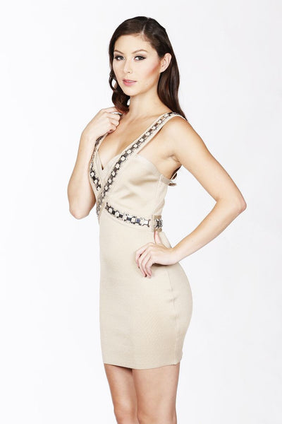 Naughty Grl Sweetheart Bodycon Dress - Tan - NaughtyGrl