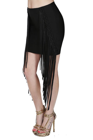 Naughty Grl Lace Mini Skirt With Fringe - Black