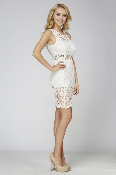 Naughty Grl Delicate Lace Dress - White - NaughtyGrl