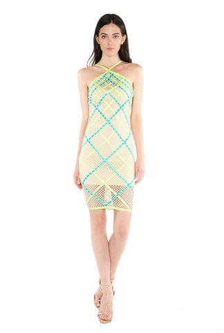 Designer inexpensive online boutique for women - Naughty Grl Halter Basket Weave Midi Dress - Teal