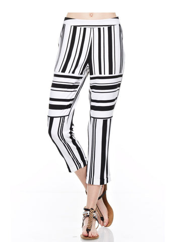 Designer inexpensive online boutique for women - Black And White Stripped Trouser - NaughtyGrl