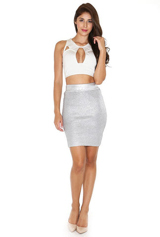 Naughty Grl High Waisted Bodycon Skirt - Silver - NaughtyGrl