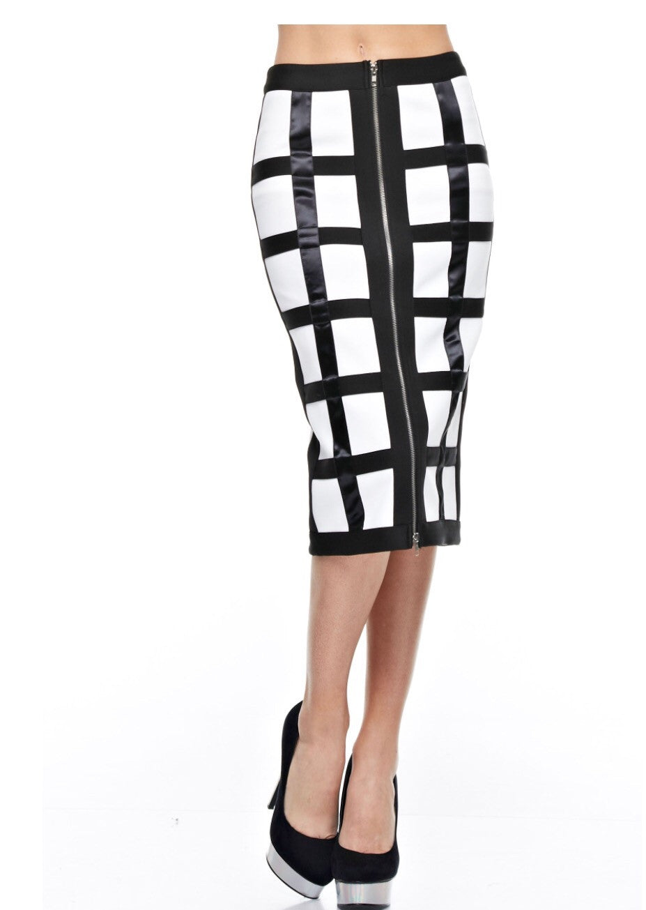 Pretty In Style Satin Strips Pencil Skirt - NaughtyGrl