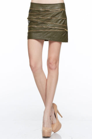 Designer inexpensive online boutique for women - Exotic Olive Skirt - NaughtyGrl