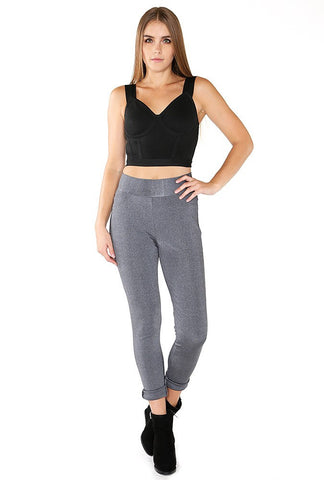 Designer inexpensive online boutique for women - Naughty Grl Elegant Leggings With Zipper - Charcoal